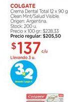 Oferta de COLGATECrema Dental Total 12 x 90 gr. por $137