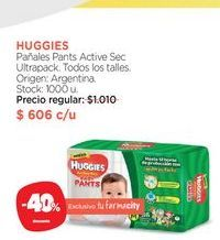 Oferta de HUGGIESPañales Pants Active Sec Ultrapack. por $606