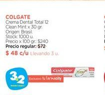 Oferta de COLGATE	Crema Dental Total 12 Clean Mint x 30 gr. por $48