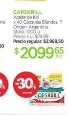 Oferta de CAPSKRILLAceite de Kril x 40 Cápsulas Blandas. por $2099,65