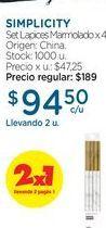Oferta de SIMPLICITYSet Lapices Marmolado x 4 u. por $94,5