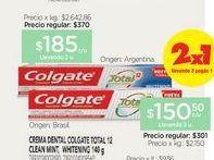 Oferta de COLGATECrema Dental Total 12 X 140 G por $150,5
