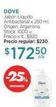 Oferta de DOVEJabón Líquido Antibacterial x 250 ml. por $172,5
