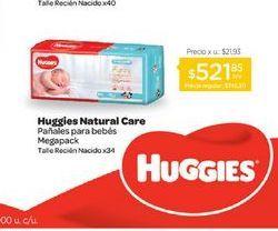 Oferta de HUGGIESPañal Natural Care Megapack Rn x 34 u. por $521,85