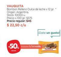 Oferta de VAUQUITABombon Relleno Dulce de leche x 12 gr. por $22,5