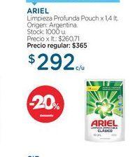 Oferta de ARIELLimpieza Profunda Pouch x 1,4 lt. por $292