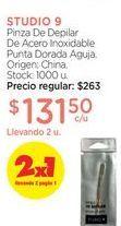 Oferta de STUDIO 9Pinza De Depilar De Acero Inoxidable Punta Dorada Aguja. por $131,5
