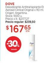 Oferta de DOVE	Desodorante Antitranspirante En Aerosol Clinical Original x 110 ml. por $167,65