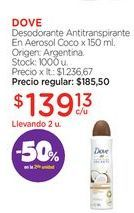 Oferta de DOVEDesodorante Antitranspirante En Aerosol Coco x 150 ml. por $139,13