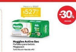 Oferta de HUGGIESPañal Active Sec Mega Pack Rn x 40 u. por $527,1