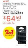 Oferta de WAVInvisibles Negros x 30 u. por $64,5