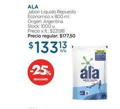 Oferta de ALAJabon Liquido Repuesto Economico x 800 ml. por $133,13