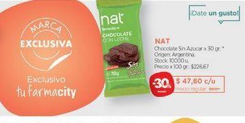 Oferta de NATChocolate Sin Azucar x 30 gr. por $47,6
