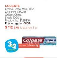Oferta de COLGATE	Crema Dental Max Fresh Cool Mint x 133 gr. por $112