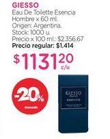 Oferta de GIESSOEau De Toilette Esencia Hombre x 60 ml. por $1131,2