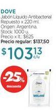 Oferta de DOVEJabón Líquido Antibacterial Repuesto x 220 ml. por $103,13