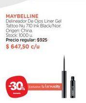 Oferta de Delineador De Ojos Liner Gel Tattoo Nu 710 Ink Black/Noir. por $647,5