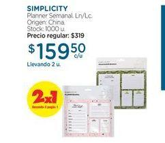 Oferta de SIMPLICITYPlanner Semanal. por $159,5