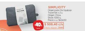 Oferta de SIMPLICITYOrganizador De Equipaje Travel Set x 2 u. por $509,4