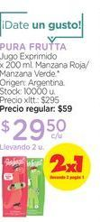 Oferta de PURA FRUTTAJugo Exprimido x 200 ml. por $29,5