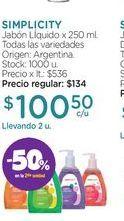 Oferta de SIMPLICITYJabón LÍquido x 250 ml. por $100,5