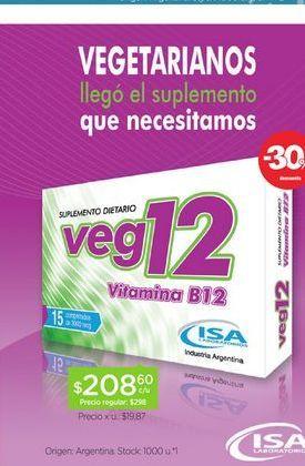 Oferta de VEG 12Suplemento Dietario X 15 Comp por $208,6