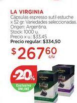 Oferta de LA VIRGINIACápsulas espresso sutil estuche x 52 gr. por $267,6
