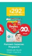 Oferta de PAMPERSPañal Supersec Megapack por $292