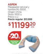 Oferta de ASPENMasajeador cervical y hombre ML-5000. por $11199,2