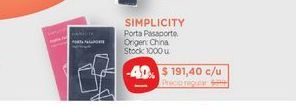 Oferta de SIMPLICITYPorta Pasaporte. por $191,4