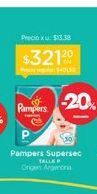 Oferta de PAMPERSPañal Supersec Talle P x 30 u. por $321,2