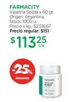 Oferta de FARMACITYVaselina Sólida x 60 gr. por $113,25