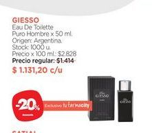 Oferta de GIESSOEau De Toilette Puro Hombre x 50 ml. por $1131,2