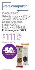 Oferta de CACHAFAZGalletita Integral x 225 gr. por $111,75