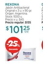 Oferta de REXONAJabón Antibacterial Original x 3 u. x 90 gr. por $101,25
