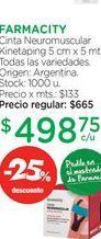 Oferta de FARMACITYCinta Neuromuscular Kinetaping 5 cm x 5 mts. por $498,75