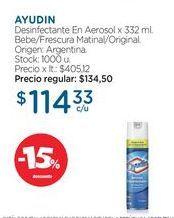 Oferta de AYUDINDesinfectante En Aerosol x 332 ml. por $114,33