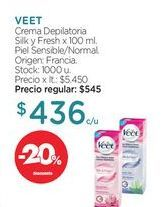 Oferta de VEET	Crema Depilatoria Silk y Fresh x 100 ml. por $436