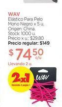 Oferta de WAVElástico Para Pelo Mono Negro x 5 u. por $74,5