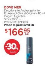 Oferta de DOVE MEN	Desodorante Antitranspirante En Aerosol Clinical Original x 110 ml. por $166,95