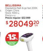 Oferta de BELLISSIMADepiladora flash & go fast 200K. por $28049,2