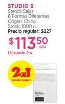 Oferta de STUDIO 9Stencil Cejas 6 Formas Diferentes. por $113,5
