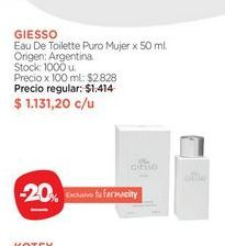 Oferta de Eau De Toilette Puro Mujer x 50 ml. por $1131,2