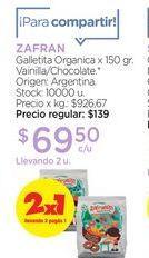 Oferta de ZAFRANGalletita Organica x 150 gr. por $69,5