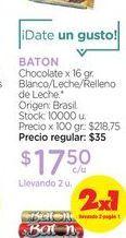 Oferta de BATONChocolate x 16 gr. por $17,5