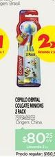 Oferta de COLGATECepillo Smiles 6+ Anos Minions Pack X2 Un por $80,25