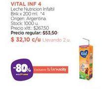 Oferta de VITAL INF 4Leche Nutricion Infaltil Brik x 200 ml. por $32,1