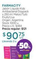 Oferta de FARMACITYJabón Líquido Kids Antibacterial Doypack x 250 ml. por $90,75