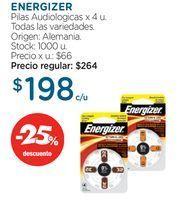 Oferta de ENERGIZERPilas Audiologicas x 4 u. por $198