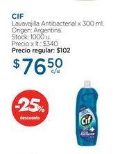 Oferta de CIFLavavajilla Antibacterial x 300 ml. por $76,5